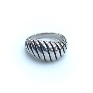 Oxidized High Polished Rhodium Plated Brass Ring